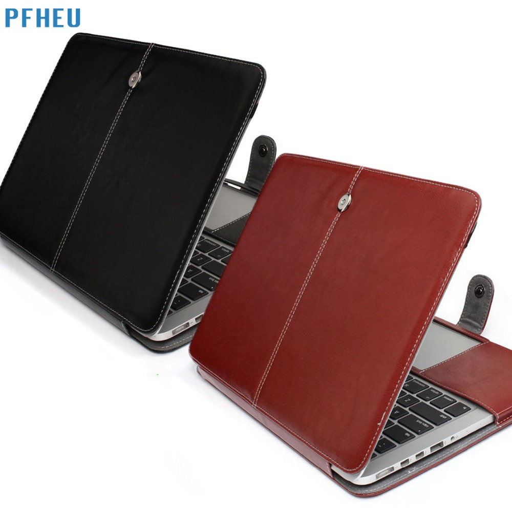 PFHEU,PU Leather Bag For Apple Macbook pro Retina Air 11 12 13 15,Air 13 A1369 A1466,New pro A1707 A1706 A1708 Flip case cover protective pu leather flip open case for 13 macbook air black
