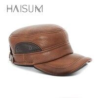 2018 haisum الكبار جلد طبيعي قبعة بيسبول الرجال الشتاء جديد حقيقي الجيش العسكرية القبعات قبعات مع الأذن رفرف Cs55