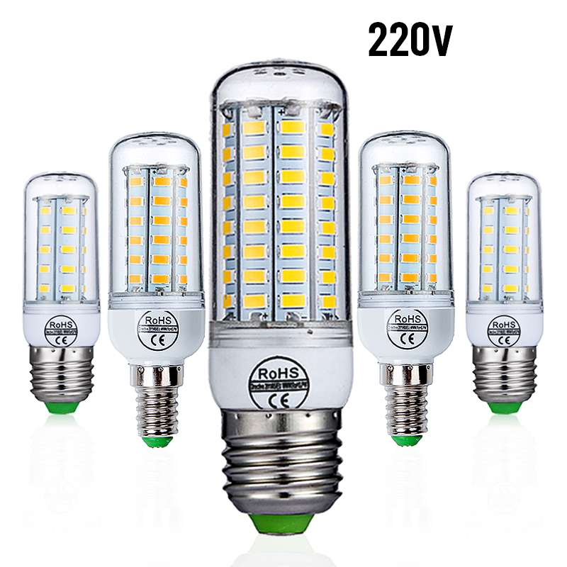 E27 LED Bulb E14 LED Lamp AC 220V 240V Corn Candle Lamp 24 36 48 56 69 72 LEDs Chandlier Lighting For Home Decoration LED Lights led lamp 220v 240v b22 bayonet smd5730 led corn light 24leds home decoration indoor lighting led bulb