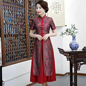 2018 New Lace Embroidered Cheongsam 2 PCS /set Red Chinese Traditional Wedding Dress Parent Ancient Long Qipao Dresses 90