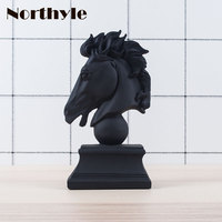 Unique black horse head statue resin figurine for home decoration horse head craft feng shui xmas decor gift for men