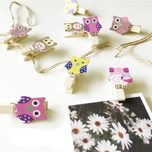 2016 Great 10pcs/bag Mini Owl Wooden Photo Paper Peg Pin Clothes Craft Postcard Clips Tools(China)