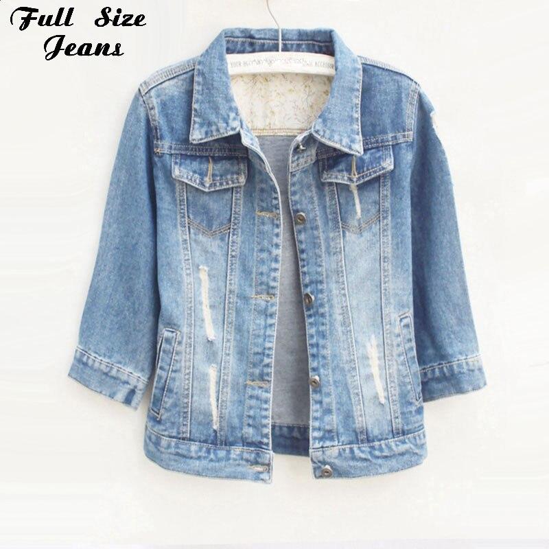 Women Plus Size Cropped Jean Jacket Lighs