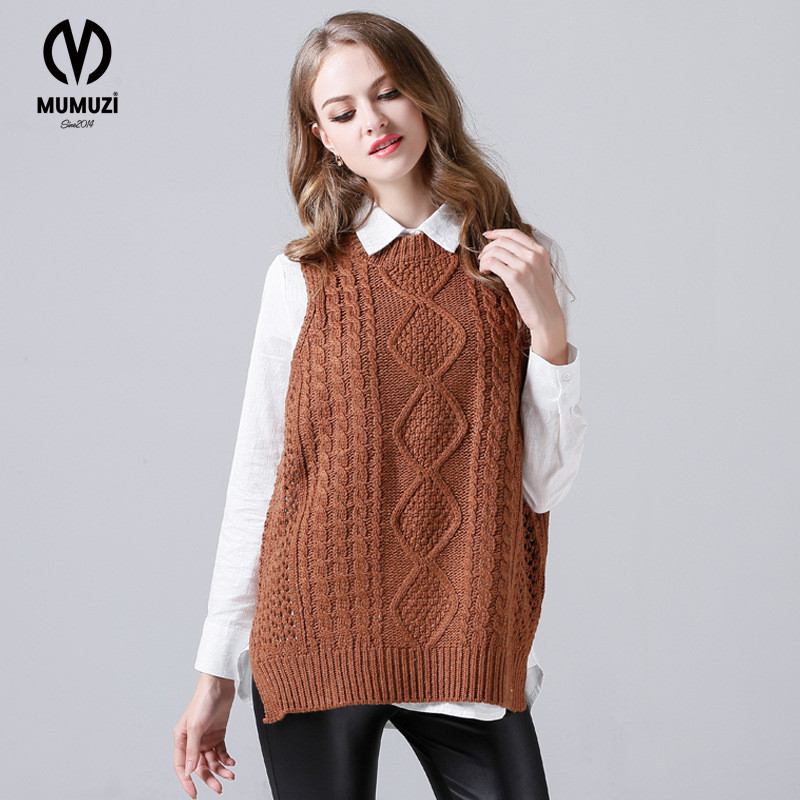 2017 Casual Sweater Female Short Front Long Back Knit Sleeveless Vest Waistcoat Outside The Ride Genuine Long Design Knitwear