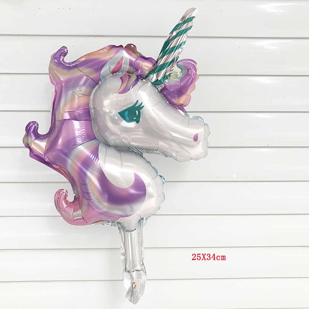 1 PC Mini Unicorn Party Balon Foil Unicornio Air Globos Pernikahan Dekorasi Pesta Ulang Tahun Anak-anak Mainan Perlengkapan