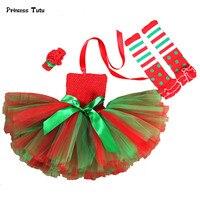 עד טול נסיכת שמלת טוטו חג המולד Elf קוספליי 1 סטים שמלת מסיבת ילדה ירוק אדום חג מולד תלבושות לילדים ילדים בגדים