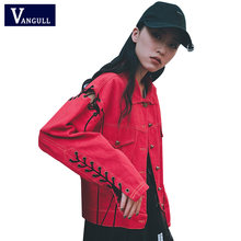 Women Fashion Denim Coat Jacket Sleeve Ring Hole Lace up Back Print Jackets Chic Streetwear Autumn Spring Outwear VANGULL 2018(China)