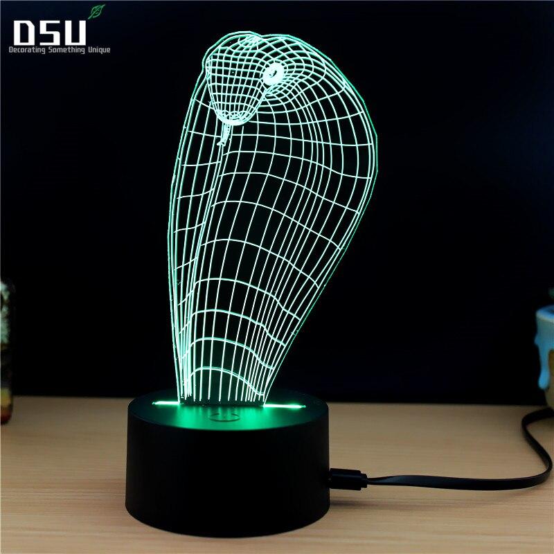 Animal Cobra Snake Head Shape 3D LED USB Lamp Creative Colorful Night Light Touch Table Lighting Desktop Decor Lampshade