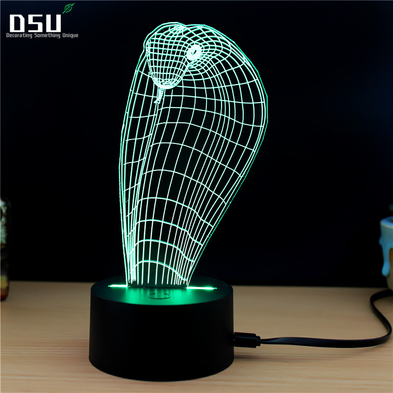 Animal Cobra Snake Head Shape 3D LED USB Lamp Creative Colorful Night Light Touch Table Lighting Desktop Decor Lampshade