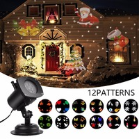 IP65 Christmas Light Laser Snowflake Projector Light 12 Patterns Outdoor LED Waterproof Star Light Home Garden