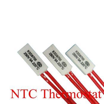 100pcs Thermostat KSD9700 200C 210C 220C 230C 240C 5A250V Ceramics Bimetal Disc Temperature Switch Protector degree centigrade