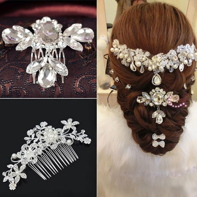 1pc bridal wedding elegant rhinestone flower bead hair for Aana decoration wedding accessories