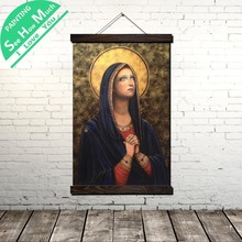 Mary Mother of Sorrow Buddhas Scroll Painting Canvas Vintage Poster and Prints Wall Art Pictures Bedroom Farmhouse Decoration