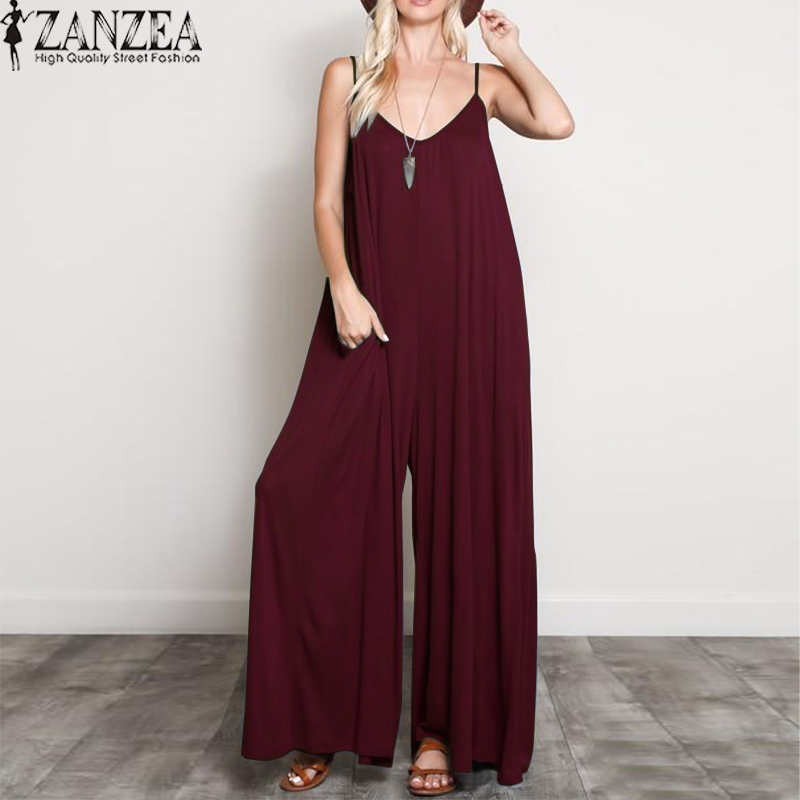 2019 ZANZEA Women Summer   Jumpsuits   Sexy V Neck Strappy Loose Wide Leg Pants Casual Solid Beach Rompers Party Long Overalls