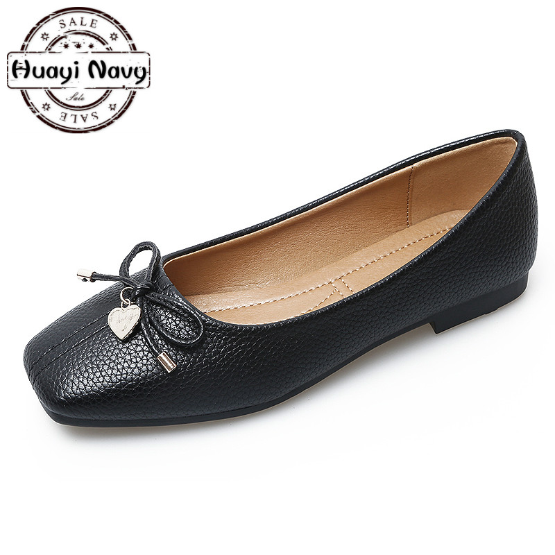 New 2018 Ladies Ballet Flats Women Flat Shoes Square Toe Butterfly-knot Black Green Leather Leisure Creepers Plus Size 35-41 new 2017 spring summer women shoes pointed toe high quality brand fashion womens flats ladies plus size 41 sweet flock t179