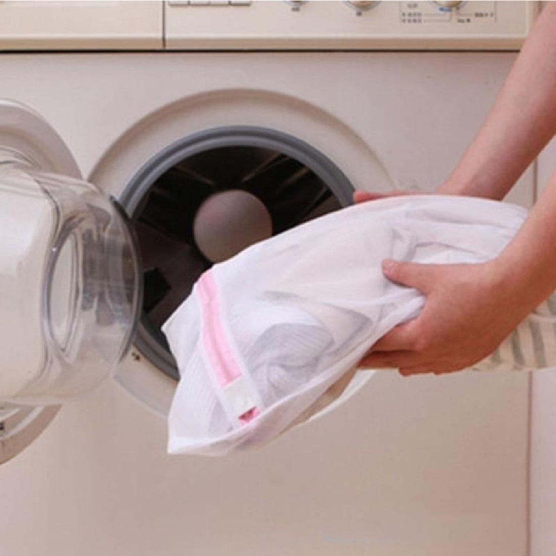 1Pc 30cmx40cm Zippered Foldable Nylon Laundry Bag Bra Socks Underwear Clothes Washing Machine Protection Net Mesh Bags