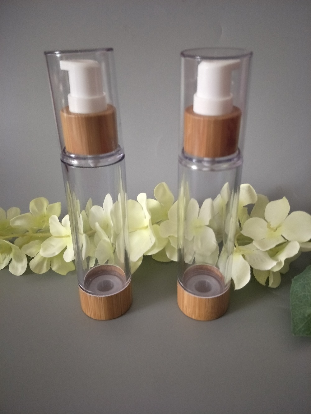 10pcs/lot 50ml Bamboo Empty Plastic Cosmetic Sample Containers Emulsion Lotion Bamboo Vacuum Airless Pump Bottles
