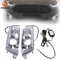 POSSBAY LED Car Light Daytime Running Light Car Auto Fog Lamps 12V White Fit for Cadillac SRX II 2010 2016 Turn Signal Lights