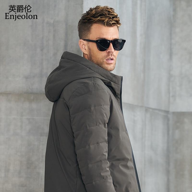 Erkek Kıyafeti'ten Parkalar'de Enjeolon Marka kış Pamuk Yastıklı kapşonlu Ceket Erkekler kalın hoodies parka ceket erkek Kapitone kış ceket Ceket 3XL MF0058'da  Grup 2