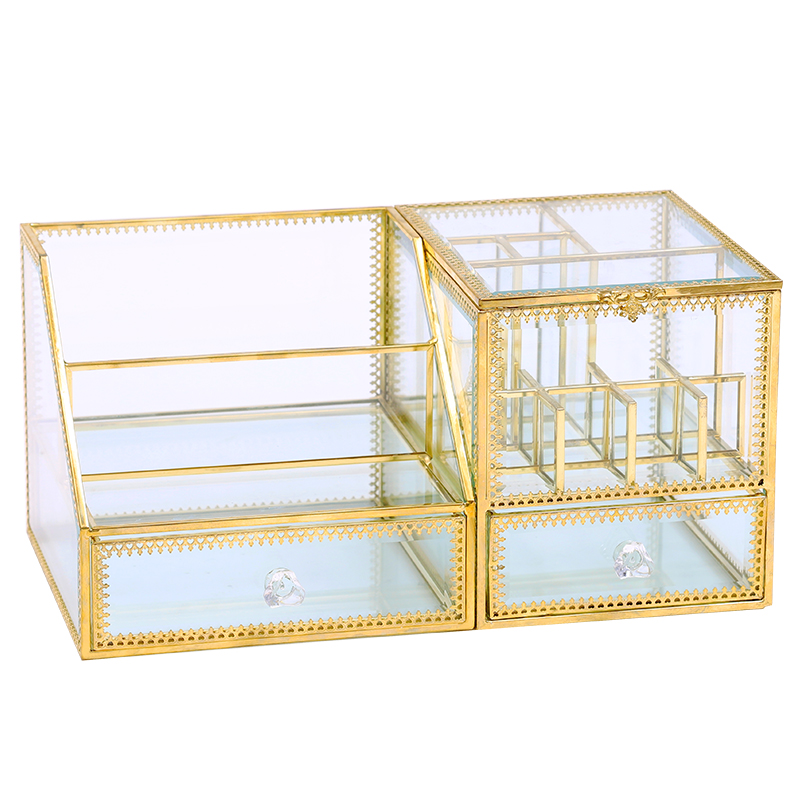Dressing table cosmetic storage box glass European skin care finishing retro princess household lipstick brush cotton swab box