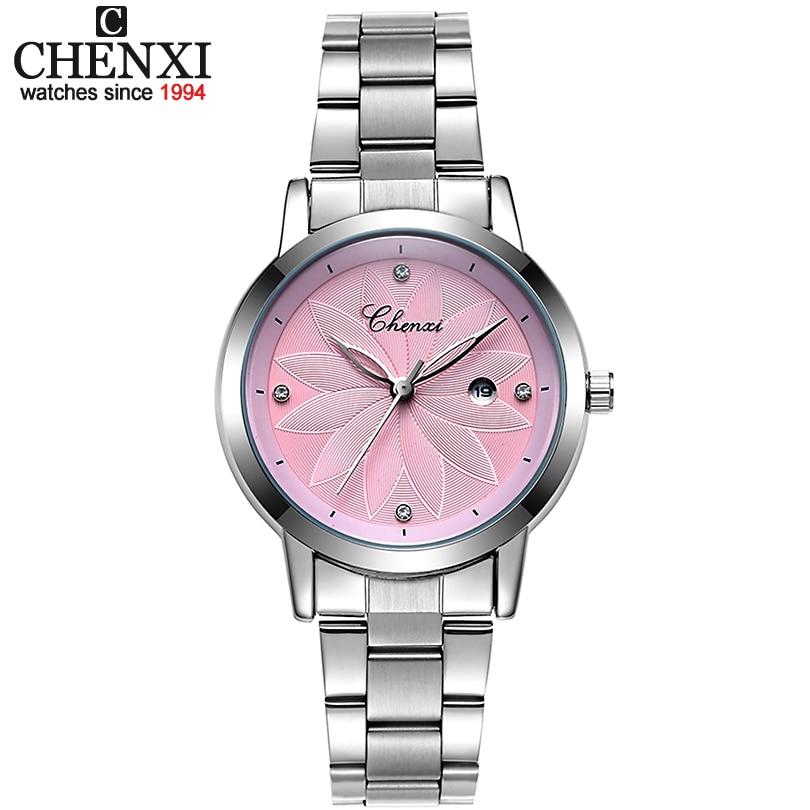 CHENXI Neue Damen Marke Luxus Uhr Datum Clock Frauen Quarzuhren Frauen armbanduhr dame Silber Armband Armbanduhren xfcs