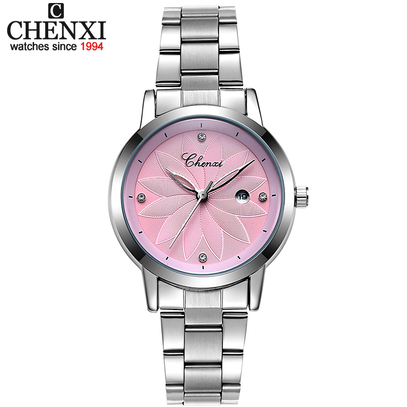CHENXI New Ladies marca de lujo reloj de fecha relojes de cuarzo para mujer reloj de pulsera de plata para mujer relojes de pulsera xfcs