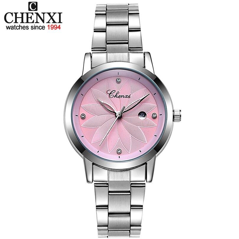 Chenxi Señoras a estrenar reloj de lujo fecha reloj mujeres Relojes de cuarzo mujeres reloj señora plata Pulsera relojes xfcs