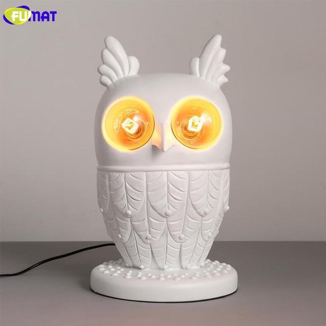 FUMAT White Resin Owl Table Lamp Modern Living Room Bedroom Bedside Light  Childrenu0027s Room Decorative Animal