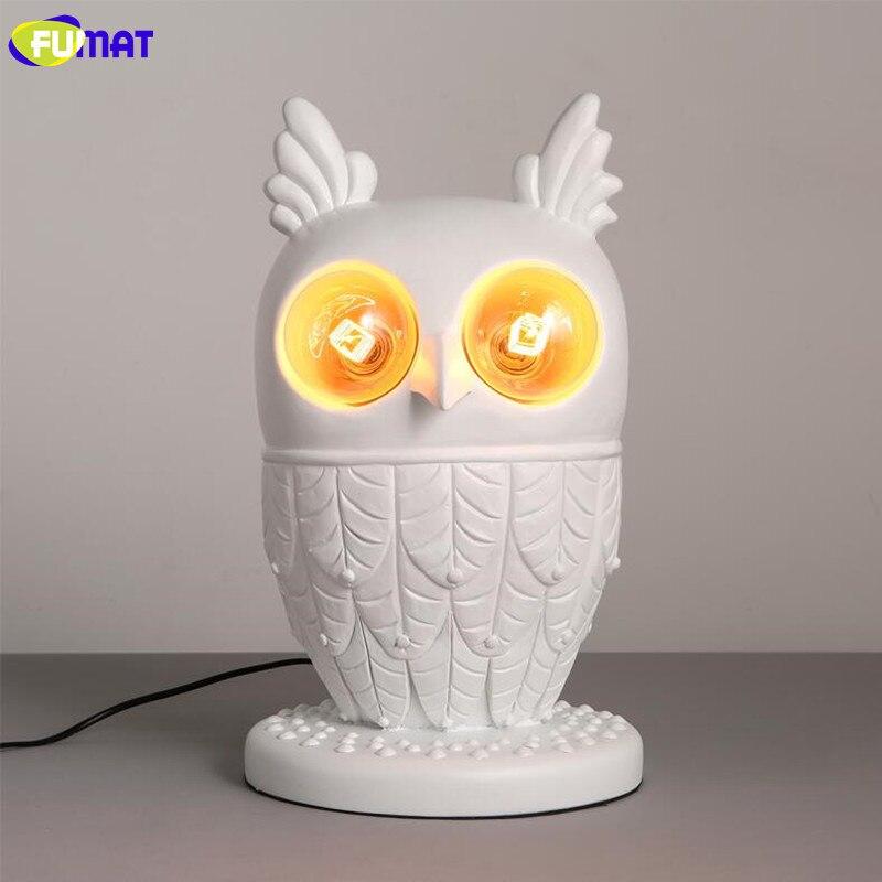 FUMAT blanc résine hibou lampe de Table moderne salon chambre chevet lumière chambre enfant décoratif Animal hibou lampe de bureau