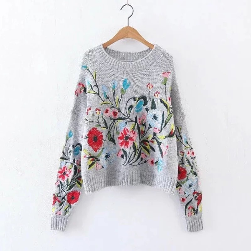 LANMREM 2018 Korean Autumn Autumn fashion new solid color round collar full sleeve loose embroidered sweater women V74702