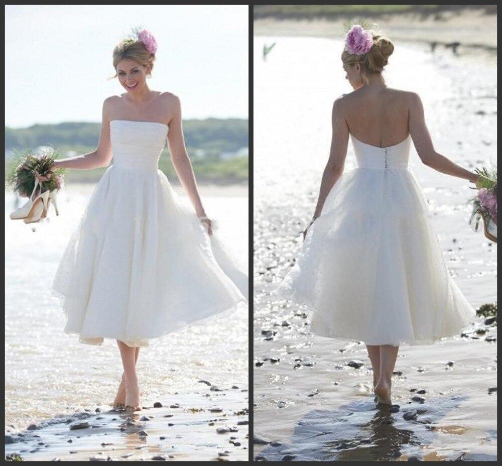 Vestido De Noiva Curto Renda courte 2018 robe bohème Stapless Style d'été mariée chine Brautkleid robes De demoiselle d'honneur