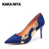 Nice Handmade Women Shoes Pumps Heeled Celebrity Heels PU Winkle Picker Shallow Mouth Slim Heels Pull