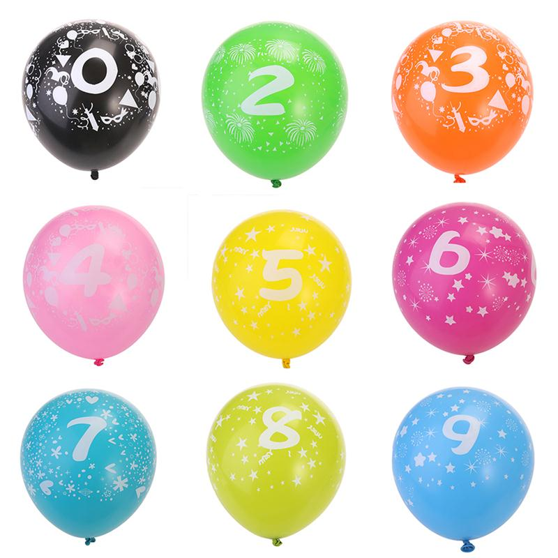 10pcs No.0-No.9 Latex Balloons For Party Wedding Decoration 3.2g Balloons Toy For Kids Having Fun(Random Nomber And Color)(China)