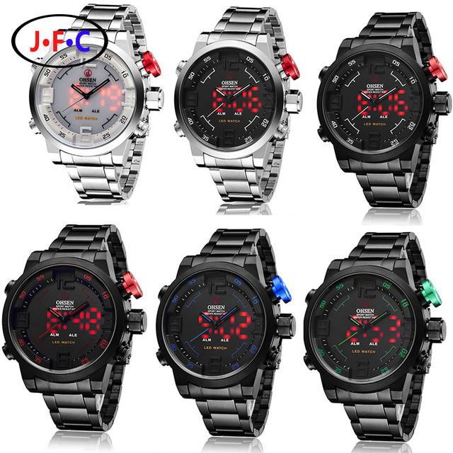 Men Watches OHSEN Watch Men's Luxury Brand Full Steel Quartz Clock Digital LED Watch Army Military Sport Watch relogio masculino