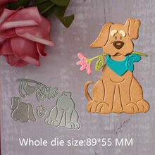 Cute puppy with flowers Cutting Dies Stencils for Scrapbooking Card Decor Diy Crafts Die-cutting and cutting dies 8.9*5.5 cm