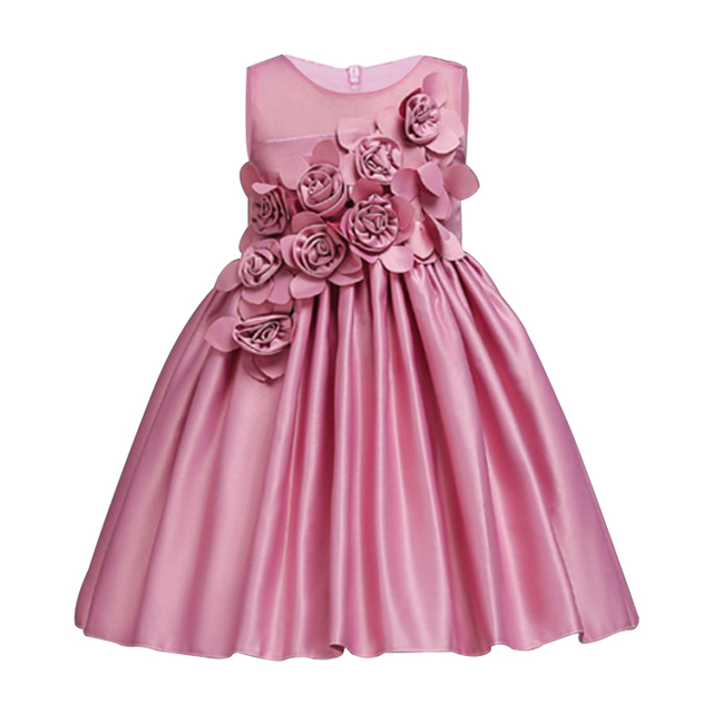 4a2d9c2dbafb8 US $7.8 25% OFF|2018 Girls Dress Kids Clothes Girls Party Dress Elegant  Fashion Floral Children Princess Wedding Gowns Clothes for Girl 2 10yrs-in  ...