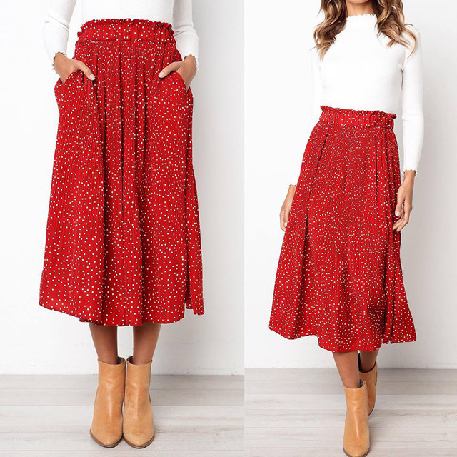 White Dots Floral Print Pleated Midi Skirt Women Elastic Skirts 2