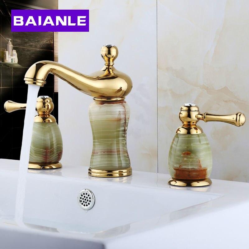 New Luxury Stone Basin Mixer Faucet Copper Gold Dual Handle Bathroom Sink Taps Bathtub Shower Set aj142005 artificial stone style resin bathroom soap dish holder gold copper