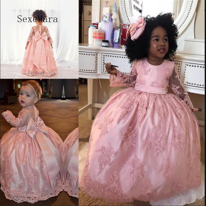 Pink Sheer Girls Birthday Gowns with Big Bow On Back Long Sleeves Lace Flower Girl Dress For Wedding Custom Made Hot Sale Longo