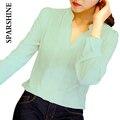 2016 Para Mujer de Manga Larga Blusa de Gasa Blanca Camisa de Las Señoras Verde Rosa Blanco Elegante Oficina Blusas Sexy V-cuello Femenino Más Tamaño