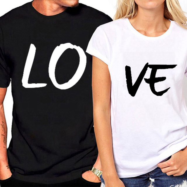 1a9f527f45 Lovers Couple Summer Funny Couple Women T Shirts Heart Love Printing Cool  Men Short Sleeve Couple Boyfriend Clothing