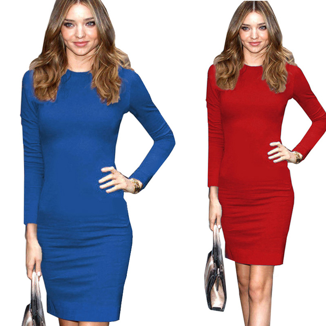 b3eff220f0b 2016 Europe and America Audrey Hepburn Vintage Spring Fashion O Neck Long  Sleeve Solid Color Blue Red Color One Piece Dress-in Dresses from Women's  ...
