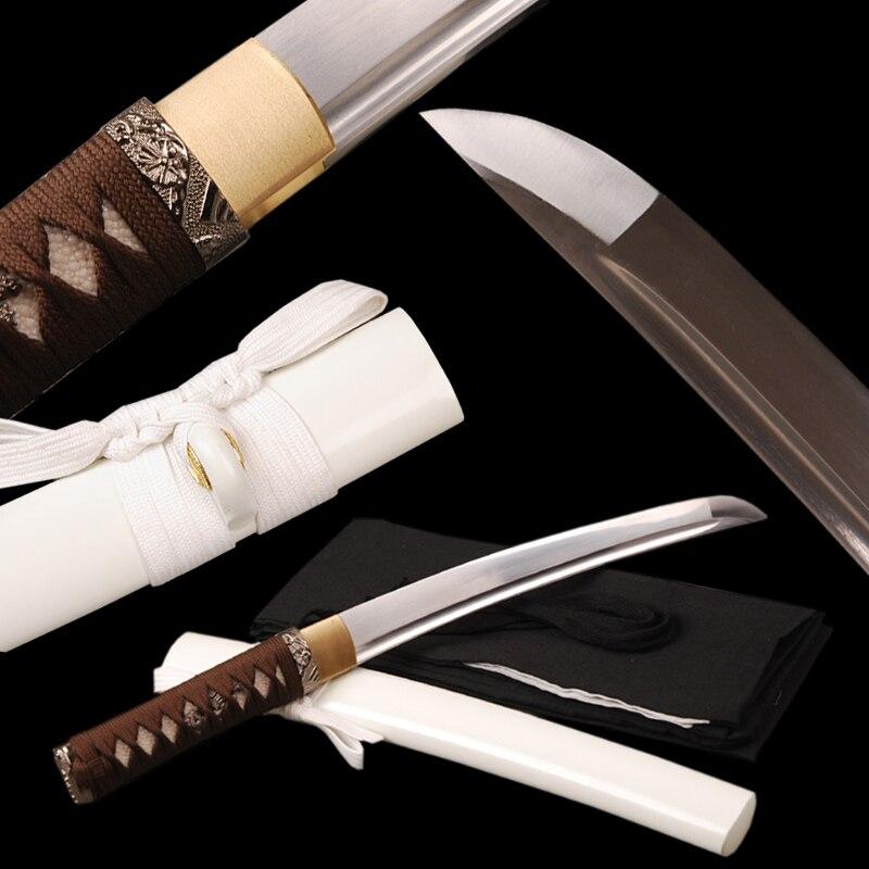 Decorative Metal Handcraft 1060 Carbon Steel Samurai Sword Fully Handmade Japanese Tanto Full Tang Sharp Knife