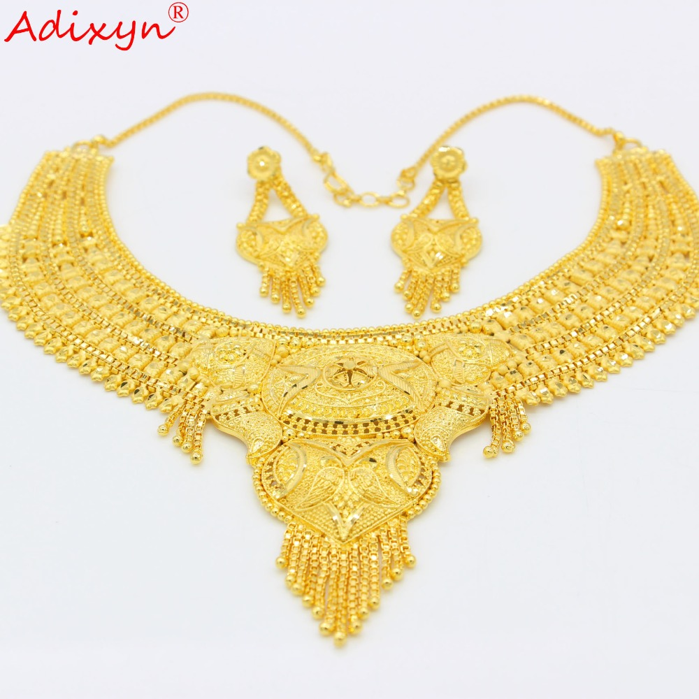 Adixyn Arab Necklace and Earrings Jewelry Set For Women Gold Color Elegant African Ethiopian Dubai Wedding Adixyn Arab Necklace and Earrings Jewelry Set For Women Gold Color Elegant African/Ethiopian/Dubai Wedding/Party Gifts N100712