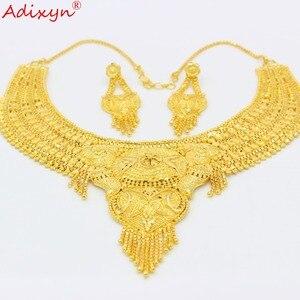 Image 4 - Adixyn 아랍 목걸이와 귀걸이 쥬얼리 여성을위한 설정 골드 컬러 우아한 아프리카/에티오피아/두바이 웨딩/파티 선물 n100712