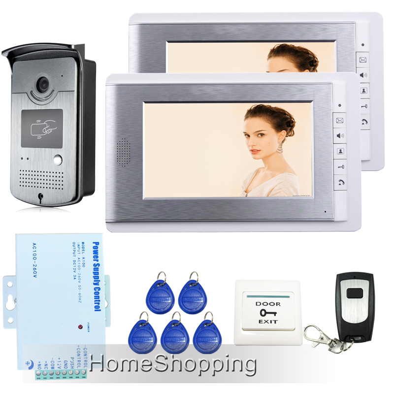 FREE SHIPPING Brand New Wired 7 inch Video Door Phone Intercom System 2 Monitors + RFID Access Camera + Remote Control In Stock free shipping brand new home 7 inch video intercom door phone system 2 monitors rfid camera long 250mm strike lock in stock