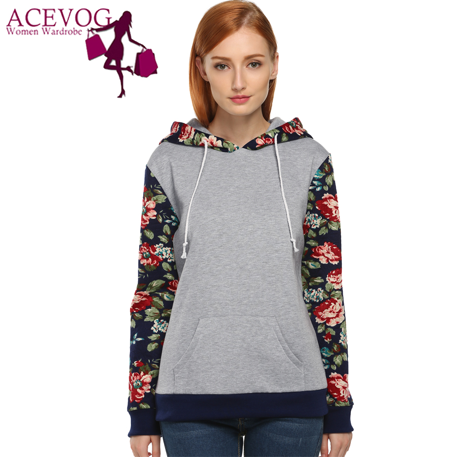 ACEVOG Sweatshirt Women Hot Selling Floral Printed Casual Hooded Pullover Hoodies Autumn Winter Flannel Tracksuit Coat