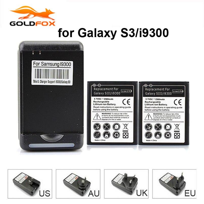 Alta Qualità 2x2300 mAh Batteria di Ricambio per Samsung Galaxy S3 i9300 L710 i747 i535 R530 + Caricabatterie Da Muro Per i9300 Galaxy S3