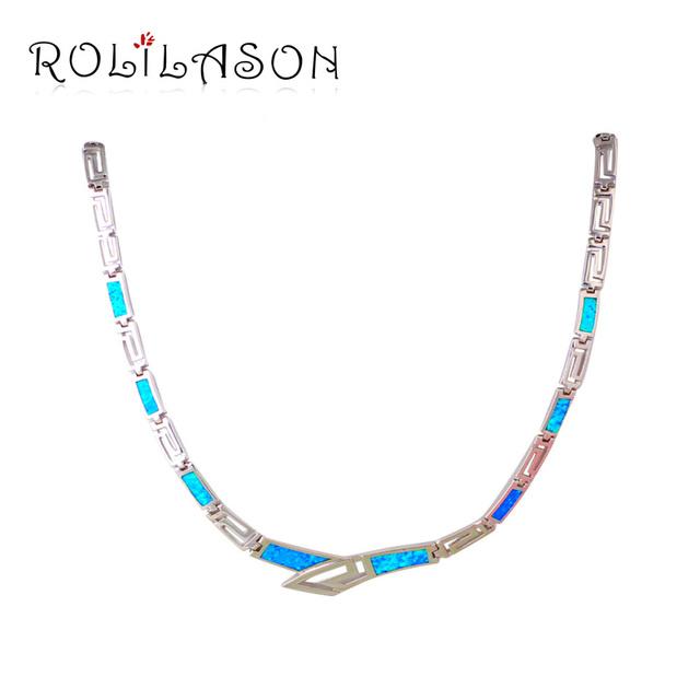Diseño único Azul Ópalo de Plata Estampado Collar Nueva Moda Enlace Cadena Collares y Colgantes Mejor Regalo Del Amor Joyería de La Muchacha LN608
