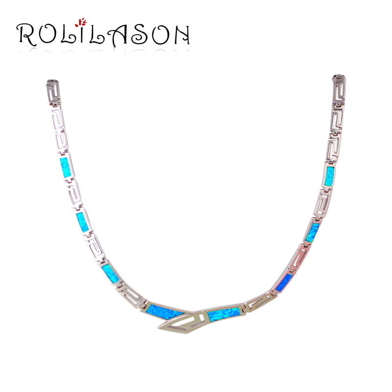 Unique Design Blue Opal Stamped Silver Necklace New Trendy Link Chain Necklaces & Pendants Best Love Gift Girl Jewelry LN608